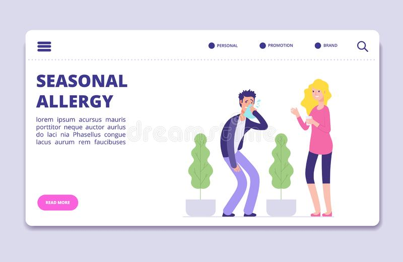 Seasonal allergy vector illustration. Office man with allergy symptoms - health landing page, banner template royalty free illustration