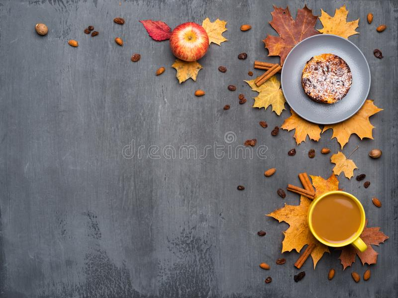 Seasonal autumn background. Frame of colorful maple leaves and a cup of hot drink, coffee, latte or cappuccino, nutmeg. Cake, apple and cinnamon over grey stock photos