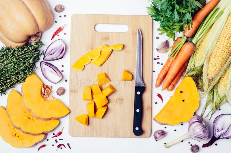 Seasonal autumn vegetables, spices and herbs. Cooking healthy or vegetarian food concept royalty free stock photography