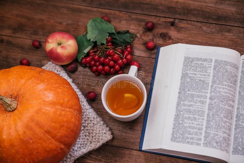 Top view of autumn workplace, pumpkin, apples and book on wooden table stock photos