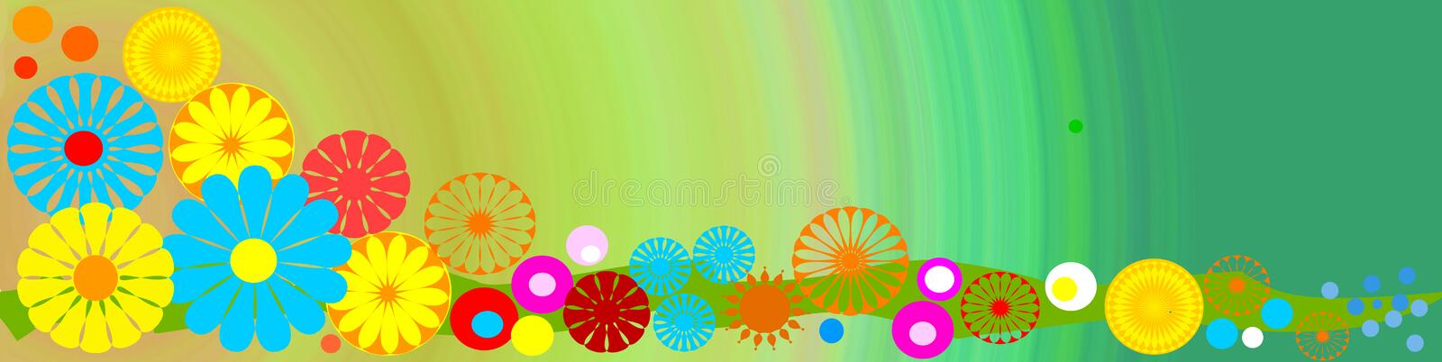 Seasonal banner with flowers. Seasonal colorful banner with decorative flower and space for text vector illustration