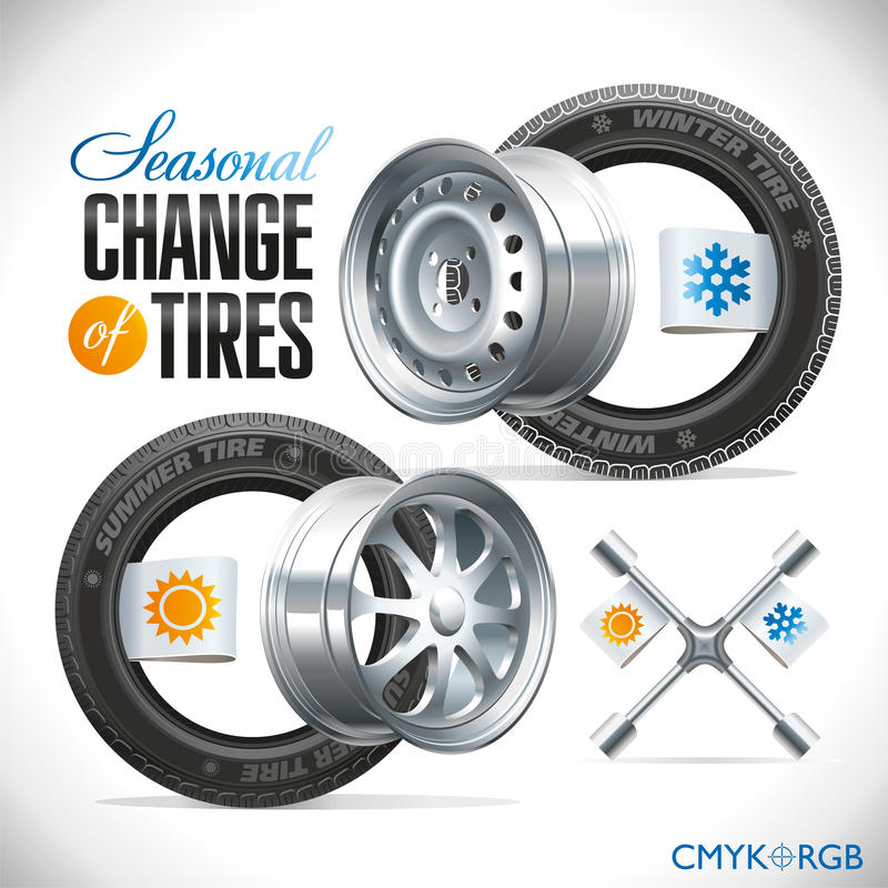 Seasonal Change of Tires. Replacement tires for the season specified on the label wheel vector illustration