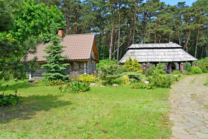 The seasonal dacha with wooden buildings in summer sunny day.  stock photo