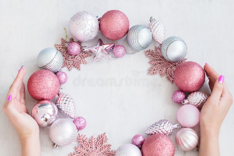 Seasonal decor christmas background hands wreath royalty free stock photos