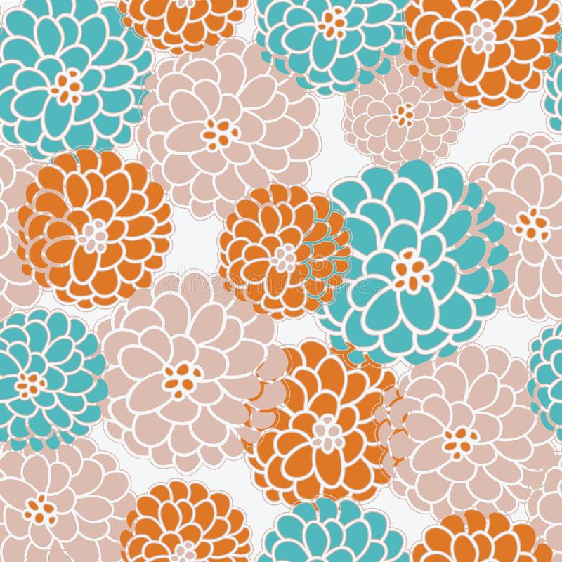 Seasonal floral pattern in modern fall colors, seamless vector pattern. Fall mums or dahlias in rust, blush and teal stock illustration