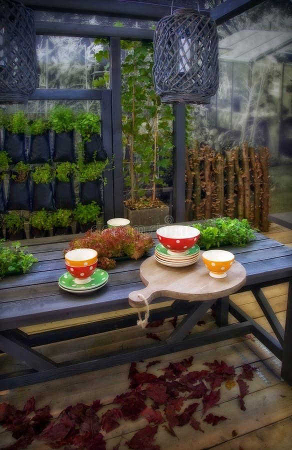 Seasonal garden table royalty free stock image