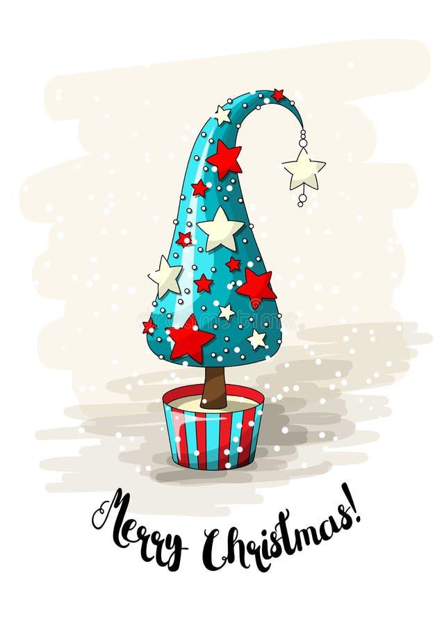 Seasonal motive, abstract christmas tree with stars, pearls and text Merry Christmas, vector illustration vector illustration