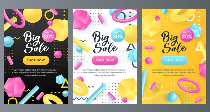 Big Sale Banner With Memphis Style  Shapes  Stock Vector