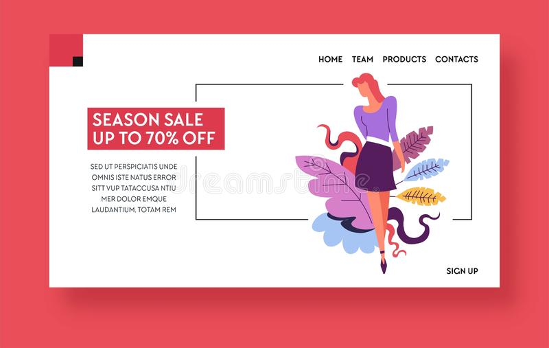 Seasonal sale or discount landing page template, girl on shopping stock illustration