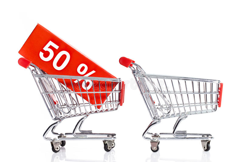 Seasonal sales. Shopping carts isolated on white with sale icons stock photo