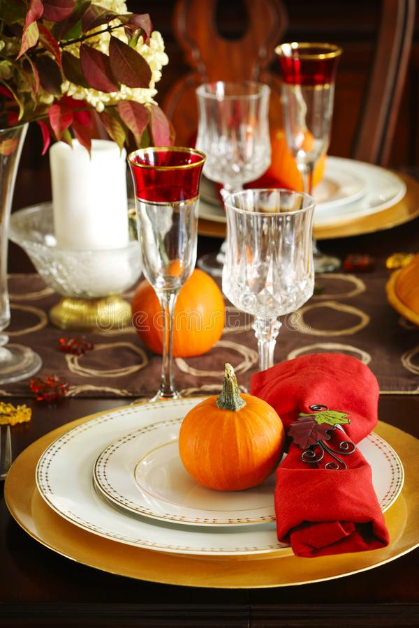 Thanksgiving table setting royalty free stock photo