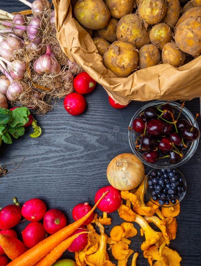 Seasonal vegetables berry mushrooms for healthy cooking. Top view, flat lay, Detox, vegan and clean diet eating stock photos