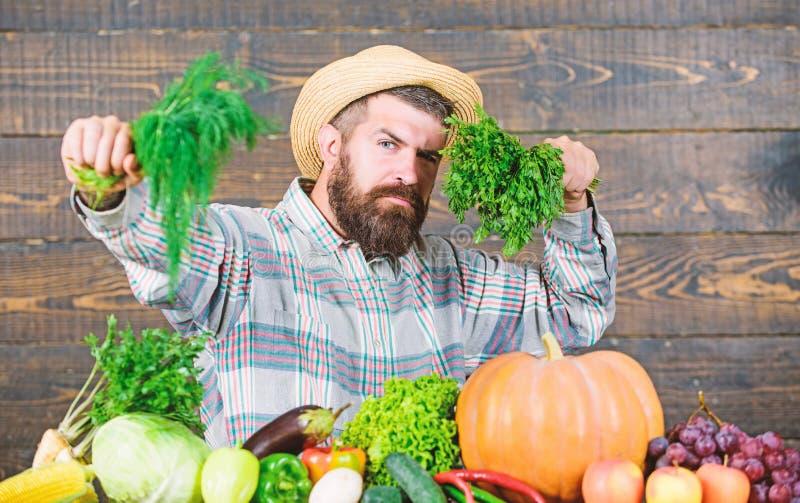 Seasonal vitamin food. Useful fruit and vegetable. bearded mature farmer. organic and natural food. happy halloween. man royalty free stock photos