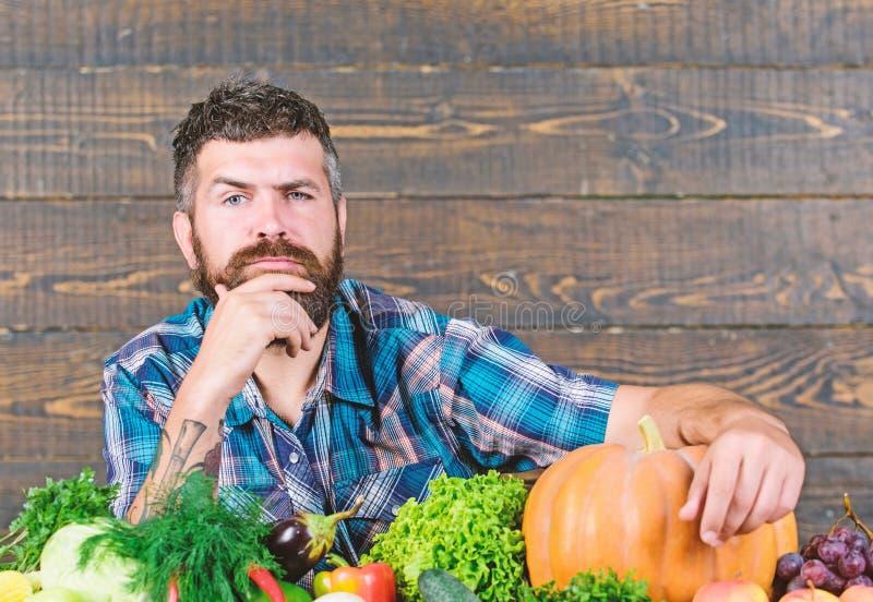 Seasonal vitamin food. Useful fruit and vegetable. organic and natural food. happy halloween. man with rich autumn crop. Seasonal vitamin food. Useful fruit and stock images