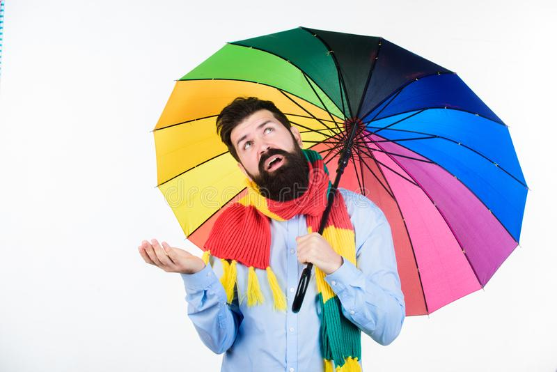 Seasonal weather forecast. Man bearded hipster hold colorful umbrella. It seems to be raining. Rainy days can be tough. To get through. Prepared for rainy day stock images