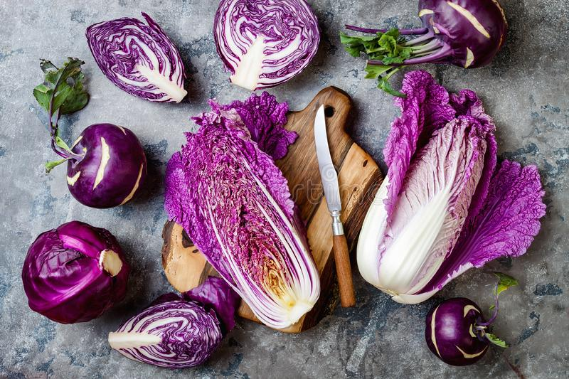 Seasonal winter autumn purple vegetables over gray stone table. Plant based vegan or vegetarian cooking concept. Clean eating food. Alkaline diet royalty free stock image