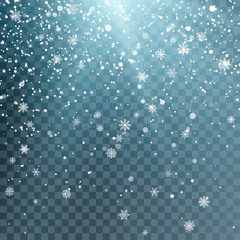 Seasonal Winter Holiday Background. Festiveal Snowfall on Blue Sky. White Snowflakes Fall. Frost Snow and Sunshine. Vector stock illustration