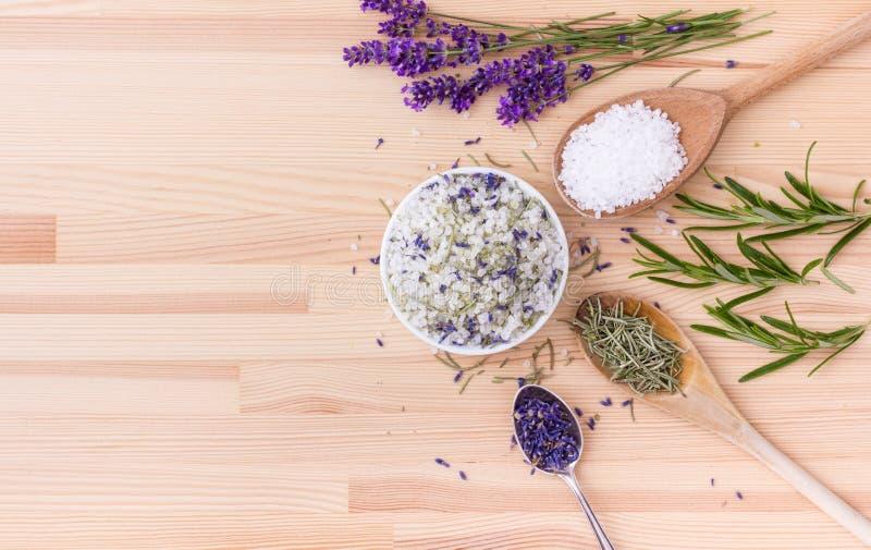 Seasoned salt with herbs royalty free stock image