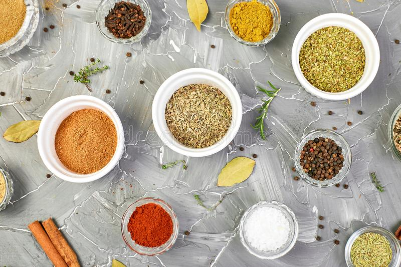 Seasoning background. Spice and herb seasoning with fresh and dried stock photo