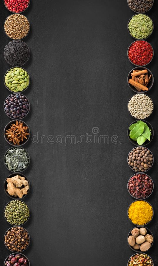 Download Seasoning On A Black Table With Empty Space Stock Image - Image of condiment, garlic: 111544809
