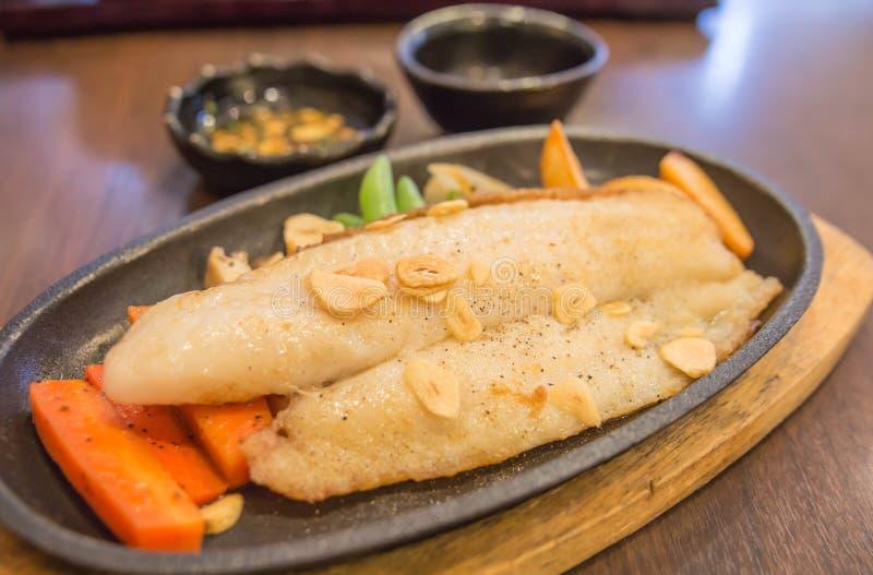 The seasoning fillet fish steak royalty free stock image