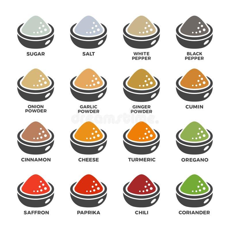 Seasoning icon set. Seasoning,condiment powder icon set,vector and illustration vector illustration