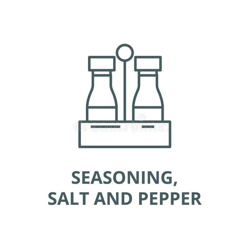 Seasoning,salt and pepper vector line icon, linear concept, outline sign, symbol. Seasoning,salt and pepper vector line icon, outline concept, linear sign royalty free illustration