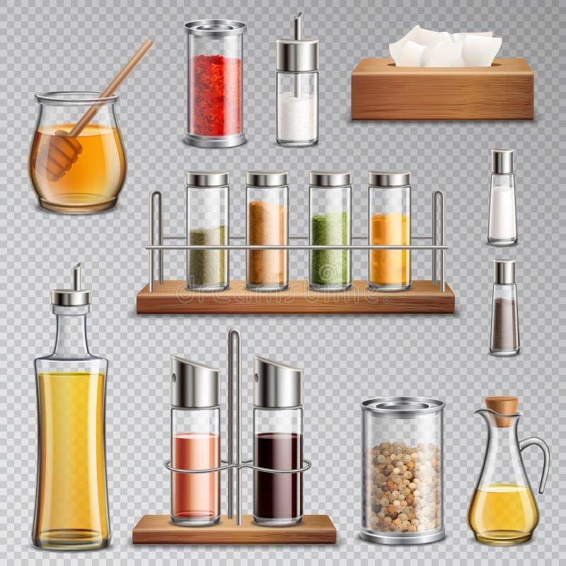 Seasoning Spices Realistic Set Transparent. Seasoning spices herbs kitchen racks cooking oil carafe sugar dispenser and honey jar realistic set transparent vector illustration