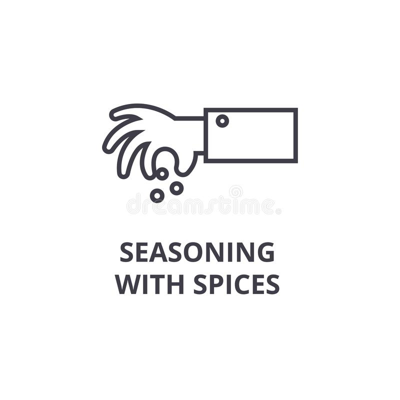 Seasoning with spices line icon, outline sign, linear symbol, vector, flat illustration. Seasoning with spices line icon, outline sign, linear symbol, flat royalty free illustration