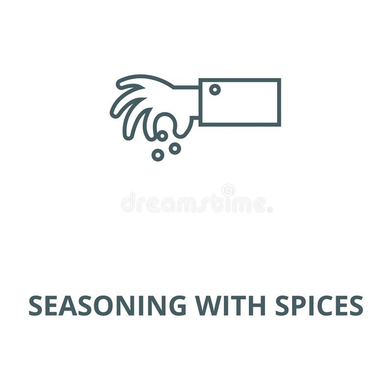 Seasoning with spices vector line icon, linear concept, outline sign, symbol. Seasoning with spices vector line icon, outline concept, linear sign vector illustration
