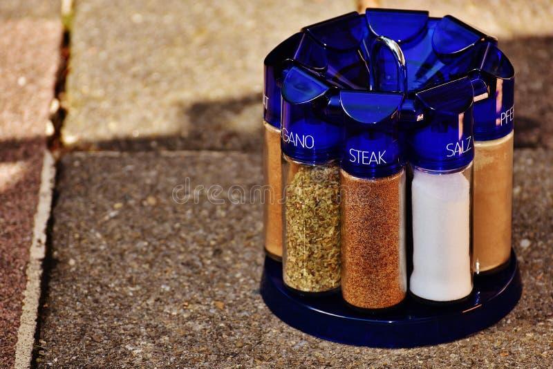 Seasonings in rack outside royalty free stock images