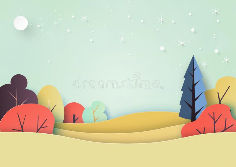 Seasons change from fall to winter background paper art style. Seasons change from fall to winter with nature landscape background paper art style.Vector royalty free illustration