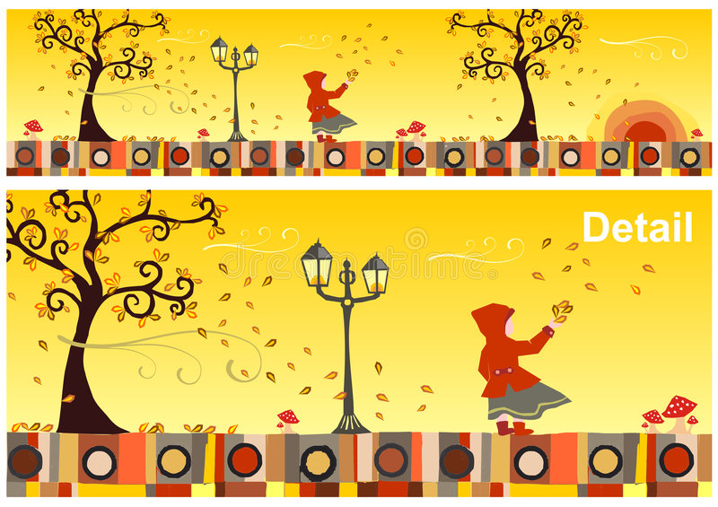 Seasons Collection: Autumn. Girl with a red hood in a windy autumn day. Vector available vector illustration