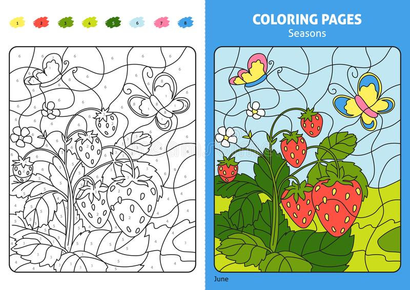 Seasons coloring page for kids, June month. Printable design coloring book. Coloring puzzle with numbers of color. Black and white draw with color example vector illustration