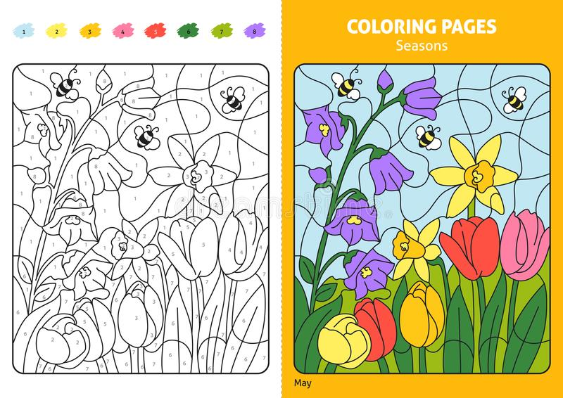Seasons coloring page for kids, may month. stock illustration