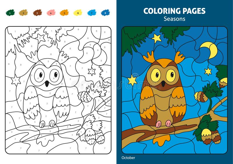 Seasons coloring page for kids. stock illustration