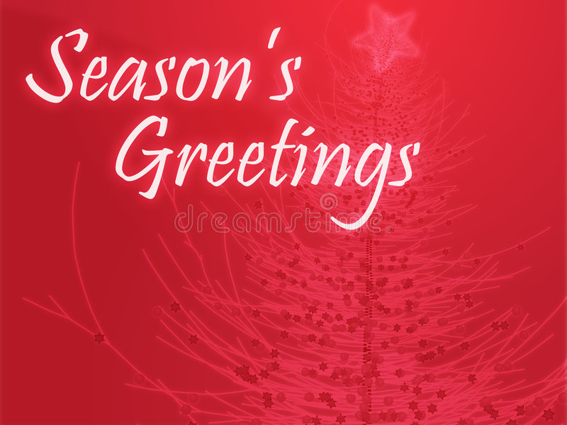 Seasons Greetings. Merry christmas seasons greetings on tree illustration royalty free illustration
