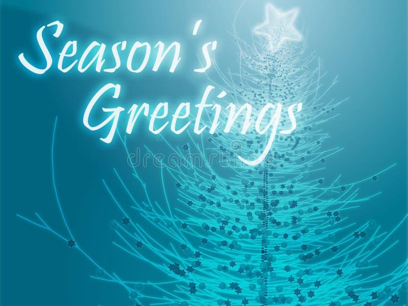 Seasons Greetings. Merry christmas seasons greetings on tree illustration stock illustration