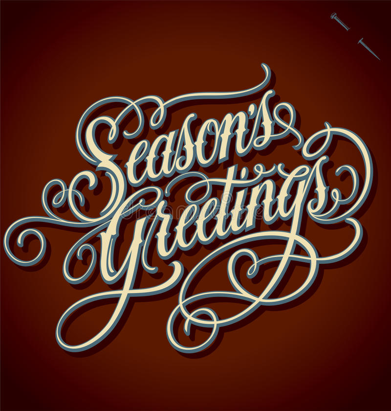 Free SEASONS GREETINGS Hand Lettering (vector) Royalty Free Stock Photo - 27791295