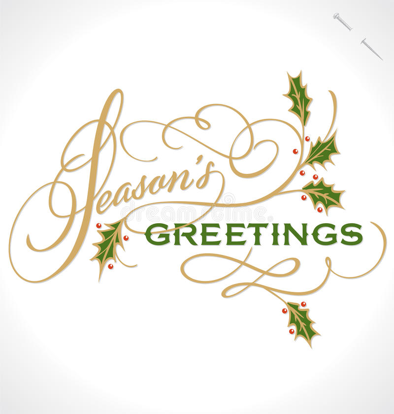SEASONS GREETINGS hand lettering (vector) vector illustration