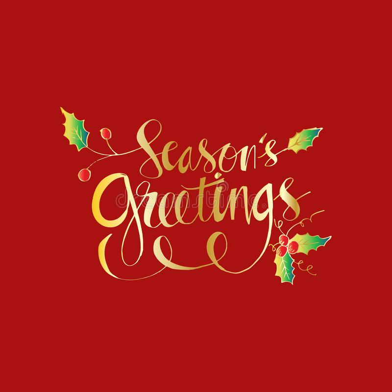 Seasons Greetings hand written lettering. With red background royalty free illustration