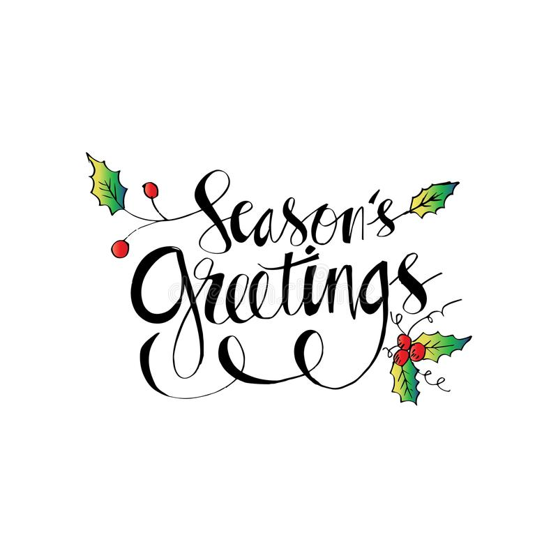 Seasons Greetings hand written lettering. With white background royalty free illustration