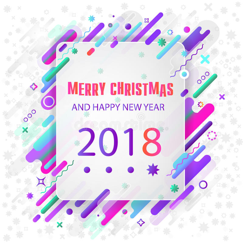 Seasons greetings. Happy New 2018 year. Colorful, contemporary abstraction design. Vector image royalty free illustration