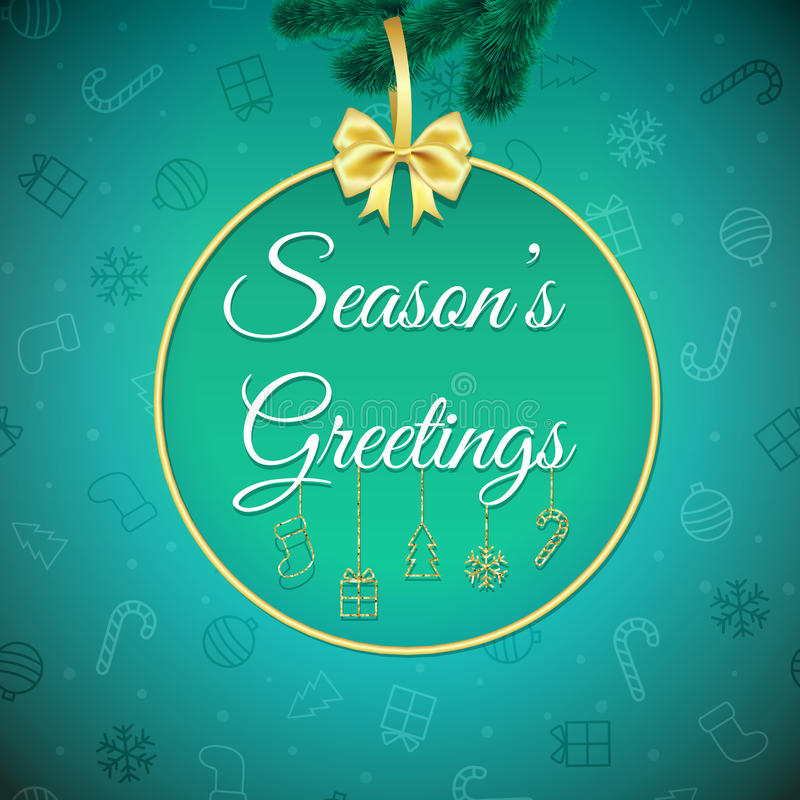 Free Seasons Greetings. Holiday Background. Xmas Greeting Card With Bauble. Poster. Royalty Free Stock Images - 78868729