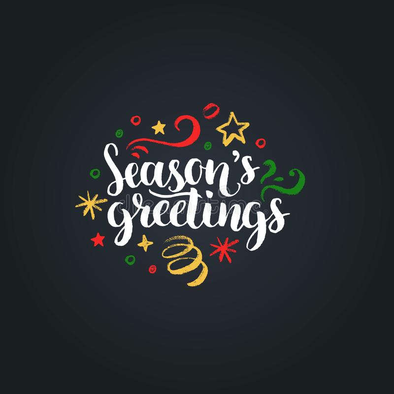 Seasons Greetings lettering on black background. Vector hand drawn Christmas illustration. Happy Holidays greeting card. royalty free illustration