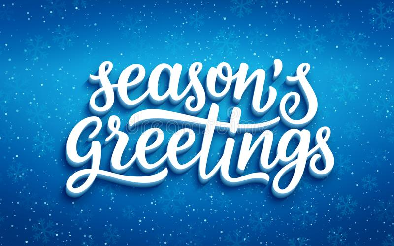 Seasons greetings lettering on blue background royalty free illustration