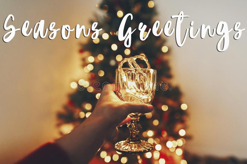 Seasons greetings text, hand holding stylish vintage glass with royalty free stock photo
