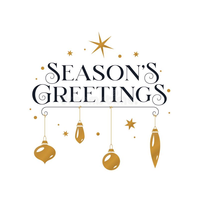 Seasons greetings typography card. Vector illustration. Seasons greetings typography card. Beautiful typographical invitation with Christmas decorations and stock illustration