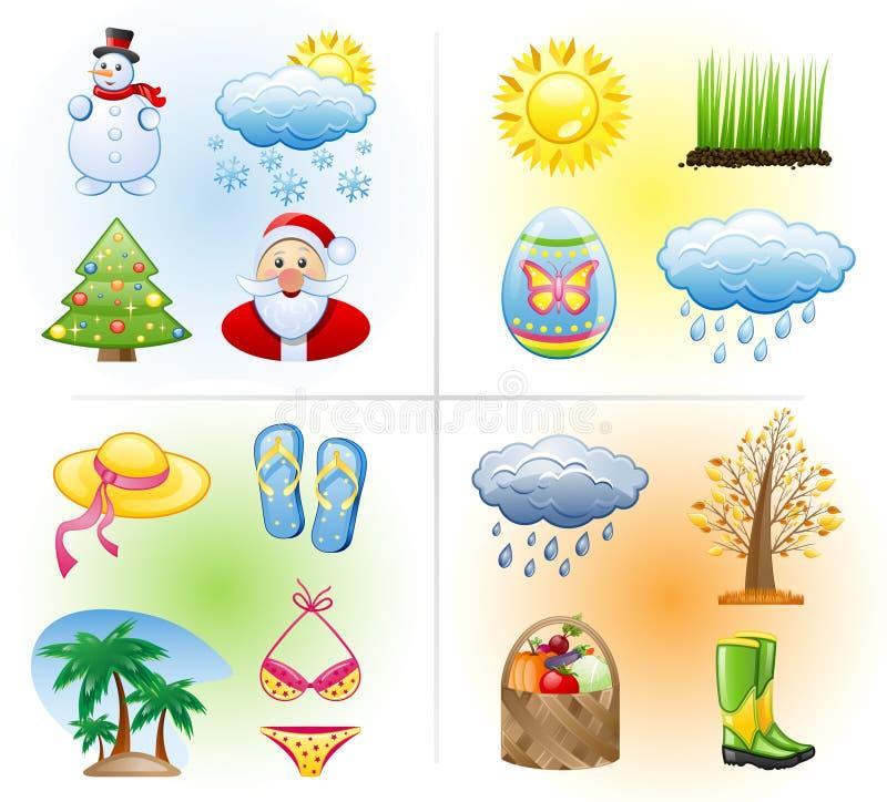 Seasons icon set. vector illustration