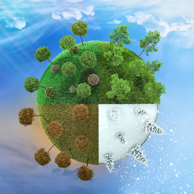 Seasons planet. Seasons spring summer autumn and winter illustrated in one image royalty free illustration